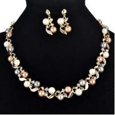 Жемчужная коллекция позолоченное ожерелье набор с серьгами жемчужные украшения набор для женщин и девочек