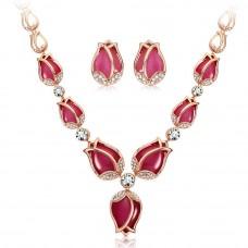 Розовое золото Тюльпан дизайн серьги ожерелье комплект ювелирных изделий для женщин.