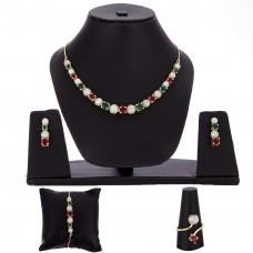 Ожерелье кулон набор, кольцо, браслет с серьгой для женщин / девочек.