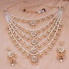 Белый жемчуг Позолоченный комплект из нескольких ожерелий и сережек для женщин