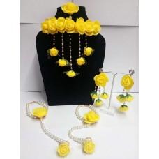 Набор ювелирных украшений из ткани (желтый, белый)