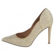 Женские золотые сандалии на шпильках