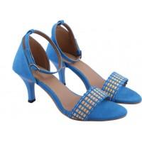 Женские голубые босоножки.