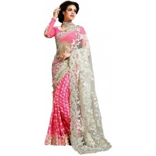 Индийская Мода. Дизайн, Вышитое Жоржетт, Сари (Розовый)
