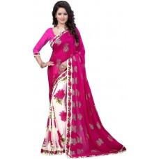 Потрясающий Цветочный  Жоржетт Сари (Розовый)